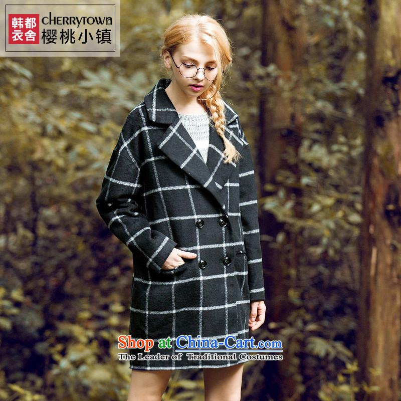 Korea has Yi Dag Hammarskj鰈d cherry town 2015 gross loose coat girl in long-sleeved? long hair? female autumn latticed CU0580 had convicted black燤