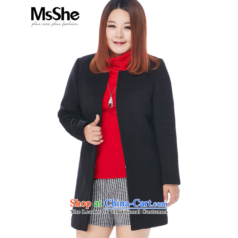Msshe xl women 2015 MM thick hair fall_winter coats and long_? warm coat 10936 thick black�L