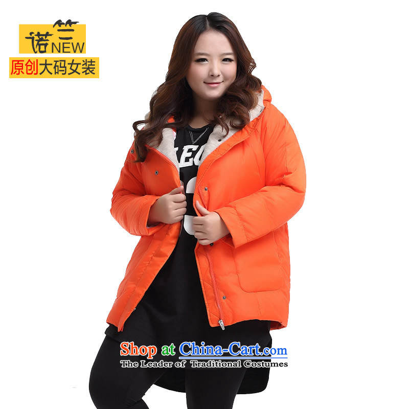 The requested maximum number of ladies winter coat thick MM to increase the burden of western thick video 200 thin warm with cap cotton coat 3297 orange larger 5XL