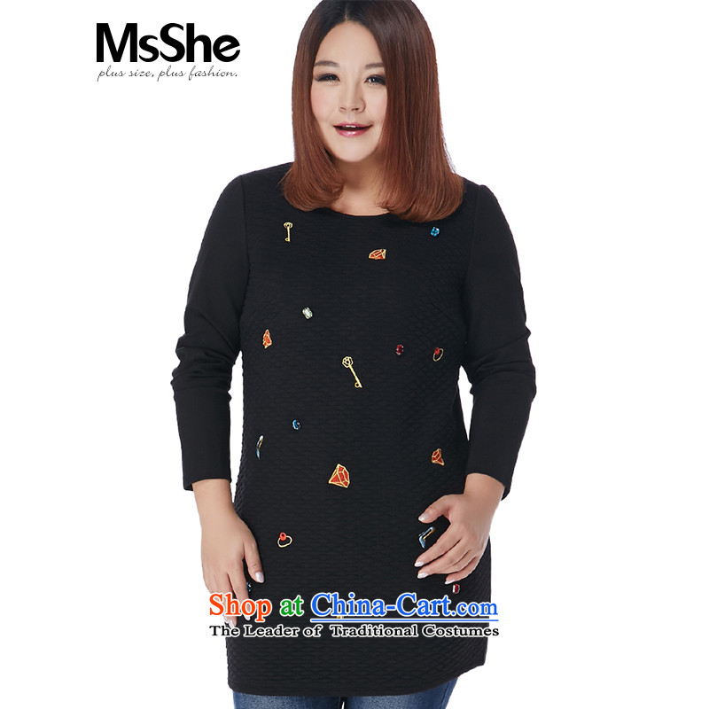 Msshe xl women 2015 new winter clothing thick sister staples in the Pearl River Delta embroidered dress shirt long pre-sale 10991 Black聽5XL- pre-sale to arrive at 12.10