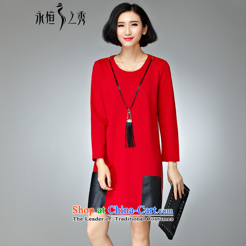2015 Autumn and winter new product codes long-sleeved dresses new 200 catties thick mm to increase female Korean red T-Shirt   4XL