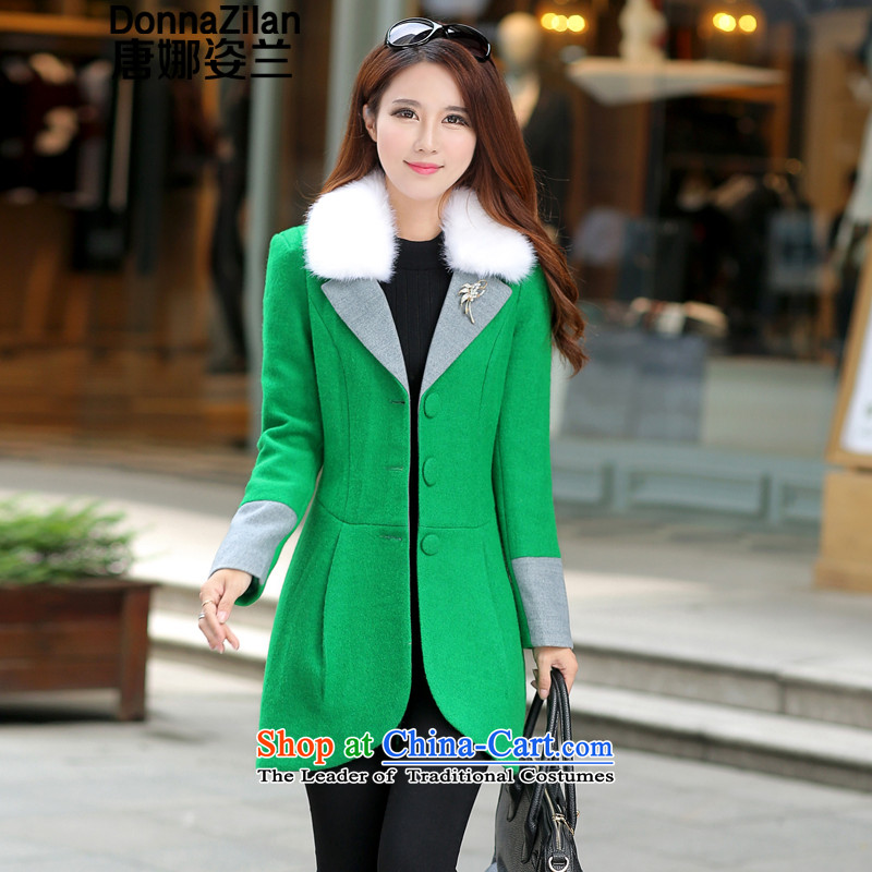 Gigi Lai Ho Korea Donna version? coats 2015 gross autumn and winter load new Korean women in large long hair Sau San?   Graphics thin cashmere overcoat a wool coat green M