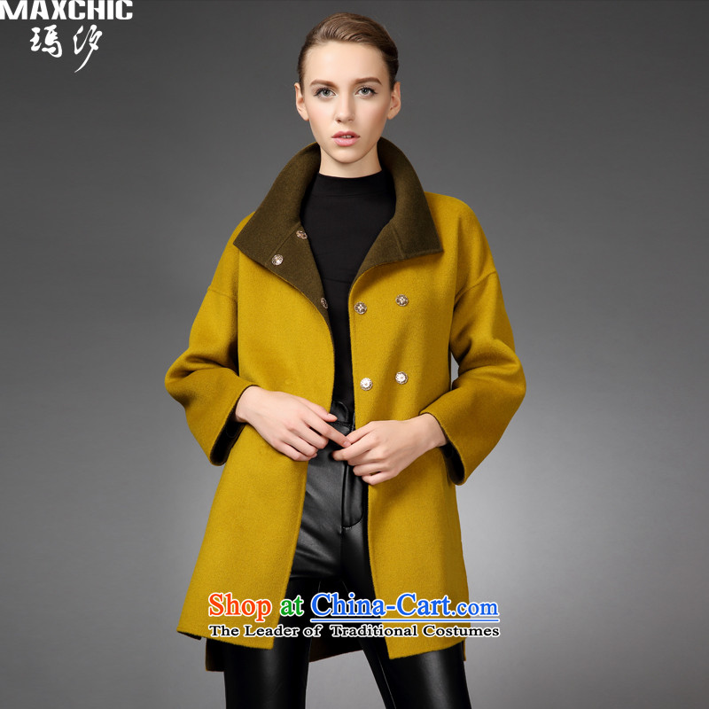 Marguerite Hsichih maxchic 2015 autumn and winter under the rules do not need the stylish bag loose double-sided wool coat female 19042? mustard green?M