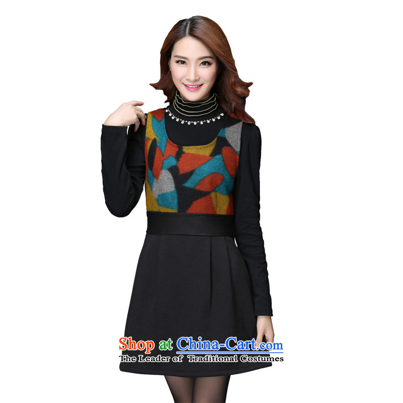 To increase the number of women with new winter 2015 Thick coated apron gross plus lint-free? stamp sleeveless dresses vest skirt OL foutune round-neck collar female black skirt�L燼bout 220 catties