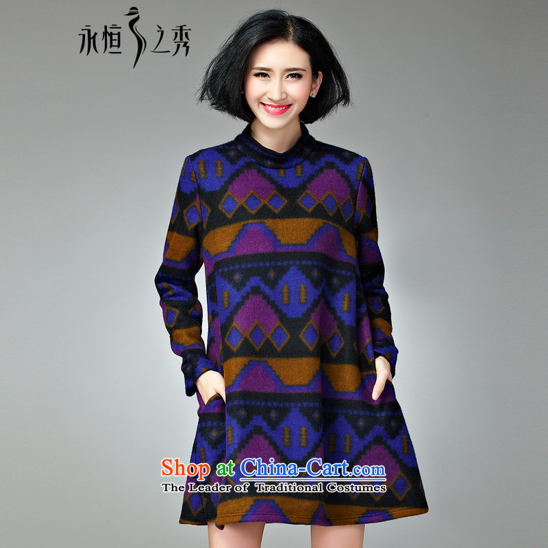 The Eternal Soo-XL women's dresses thick mm sister of autumn and winter 2015 new products to increase the Korean long-sleeved Sau San Mao dresses? coffee purple�L
