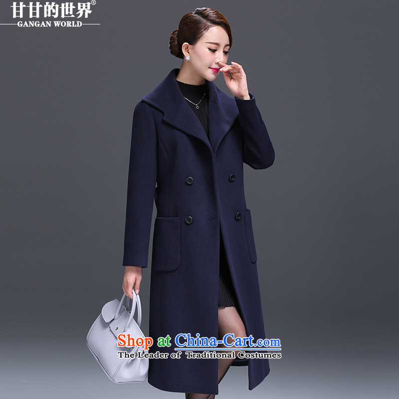 Gangan world long hair? 2015 autumn and winter coats new middle-aged female high-end large stylish coat? Navy燣