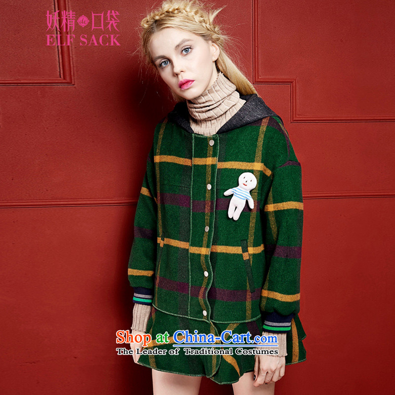The pockets of witch decimal�15 new winter clothing omelet before retro plaid coats燩B1542059 gross?燜orest Green Orange燬