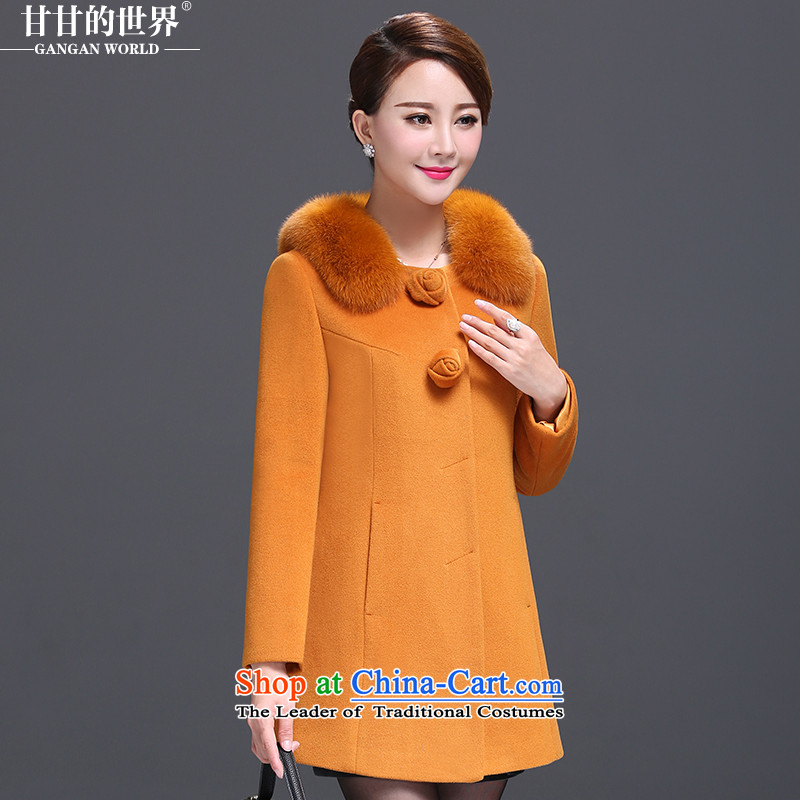 Gangan World 2015 autumn and winter new Fox Gross Gross for long butted? a wool coat middle-aged female replace turmeric yellow XXL