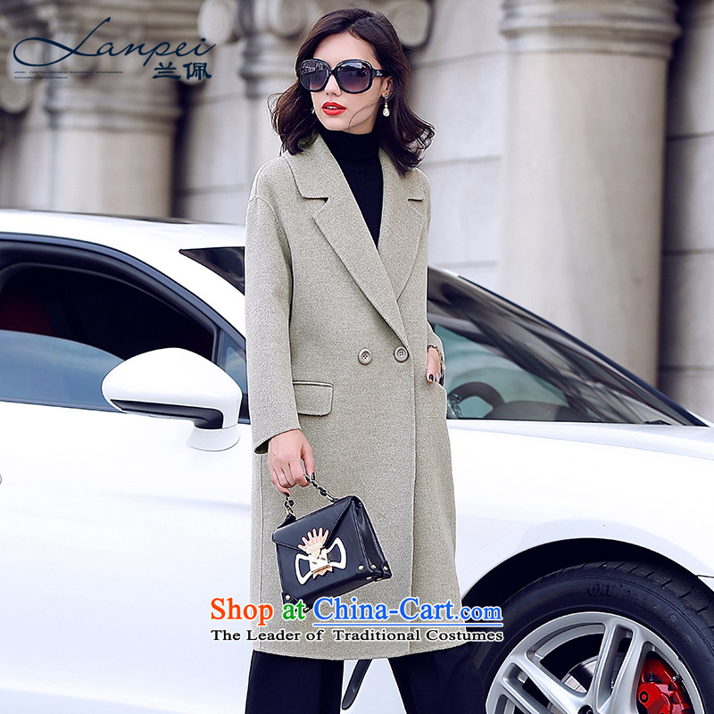 Estimated 2015 Autumn Load New Pei, double-sided cashmere overcoat girl in long wool?   a wool coat jacket beige?2XL