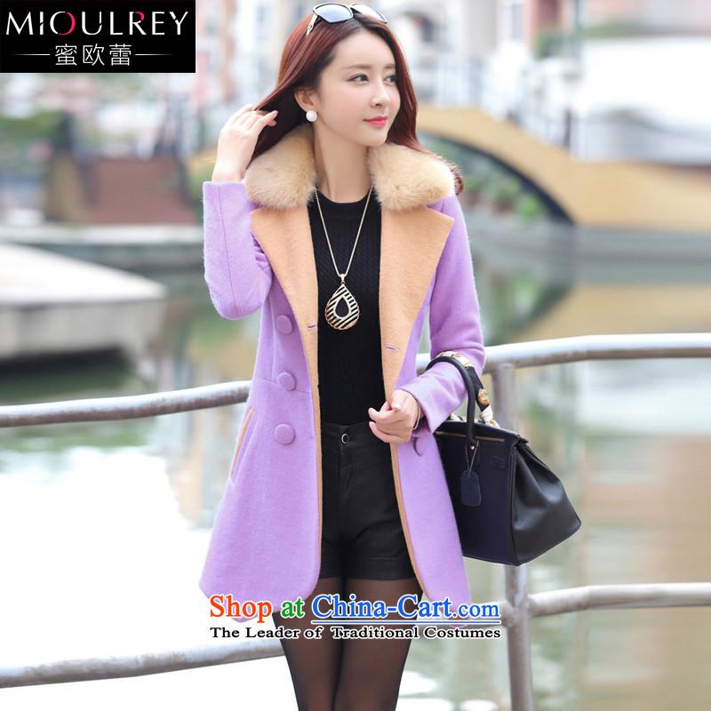 Alfa Romeo Lei2015 winter new women's fashion, long hair? jacket double-Sau San Korean citizenry a wool coat female jacket 1019 light purpleL
