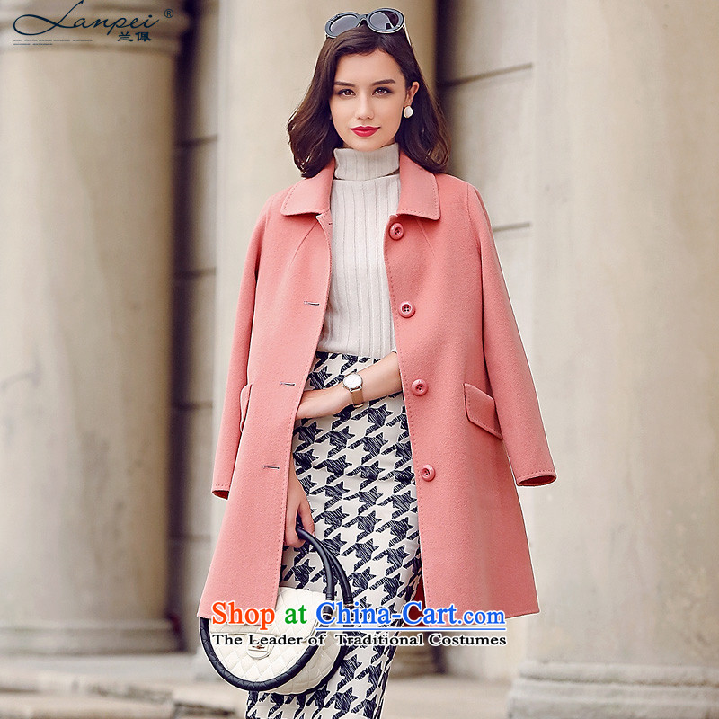 In the autumn of 2015, the new Pei cocoon-double-side woolen coat girl in long straight hair auricle-leather jacket? toner L