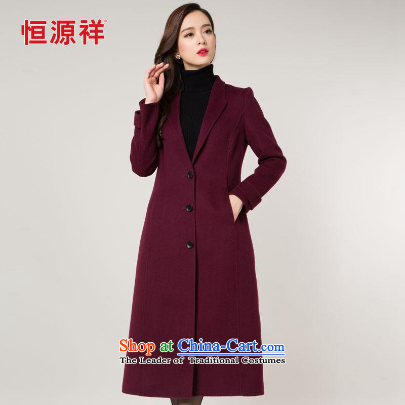 Y Hengyuan Cheung wool coat girl in long?_ 2015 new temperament Sau San full manual woolen coat double-side female L_170 wine red
