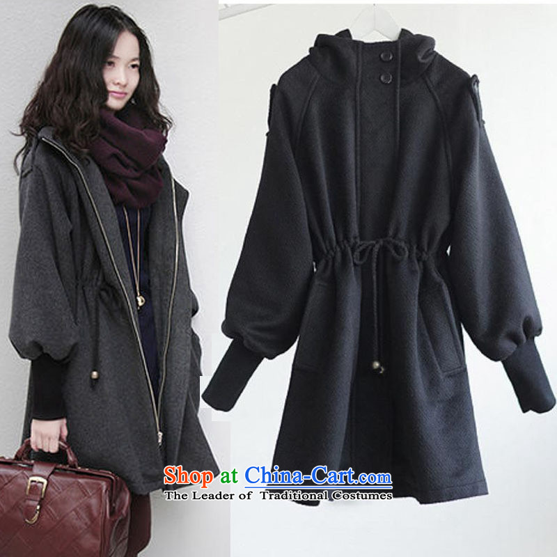 2015 Fall_Winter Collections for larger female Korean to xl cashmere overcoat and stylish thick MM THIN thick sister Sau San video gross coats jacket thickness is light gray聽XXXXL