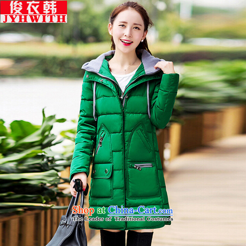 Mr James TIEN Yi Won thick girls' Graphics thin, Korean female cotton robe Maroon women thick Tien large 2015 female feather cotton coat to increase female jacket green燲XXL Winter