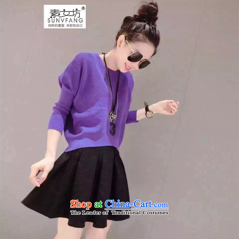 Motome workshop for larger female thick sister autumn and winter�15 Autumn Kit new boxed thick MM video thin wild knitting sweater + short skirt two kits reaches 57.88 purple�L爎ecommended weight 160-180 catty