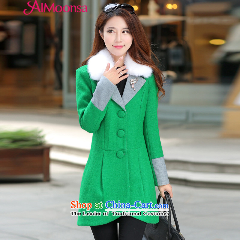 The autumn 2015 new aimoonsa winter Korea long-sleeved Pullover wool coat female incense? wind in Long Hoodie gross? female green coats燲L