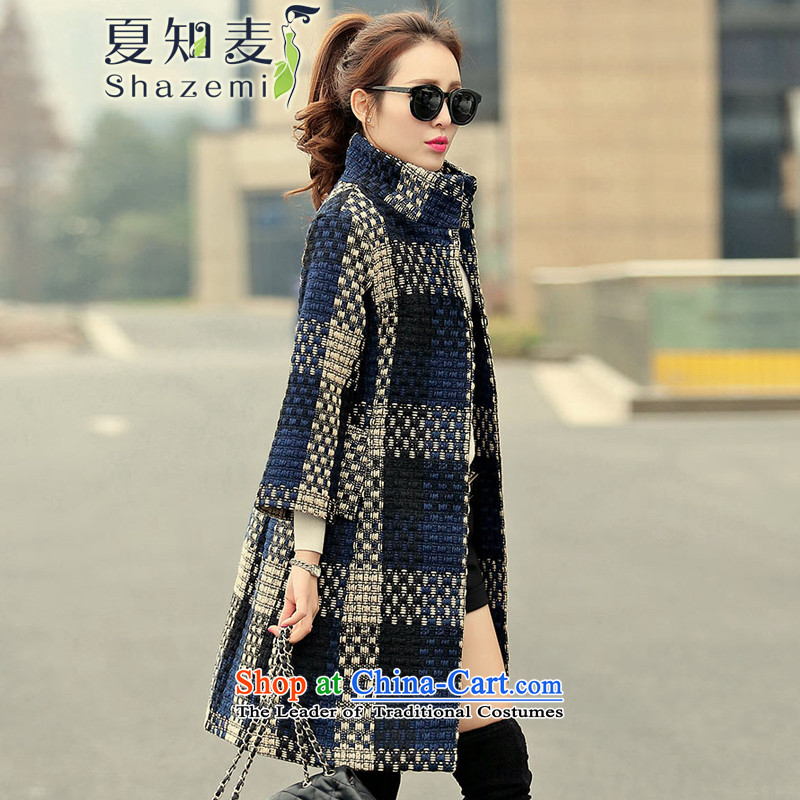 Mr Ronald know Korean version in Sau San long collar coarse wool coat it spend gross BH-6086 navy XL