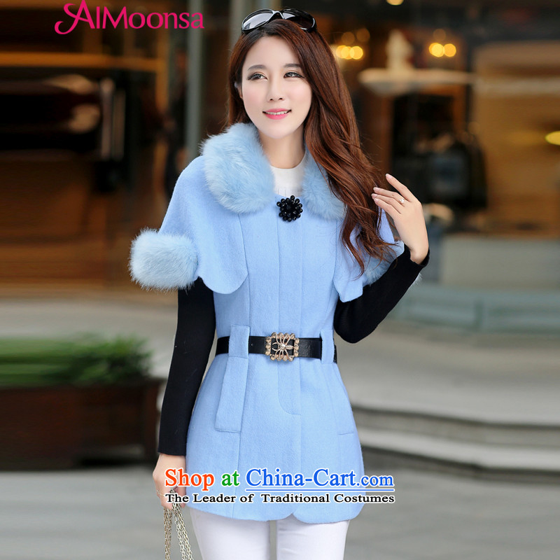 Gross? female jacket aimoonsa in long 2015 Fall_Winter Collections new Korean Gross Gross Sau San for coat? cloak a wool coat female light blue M