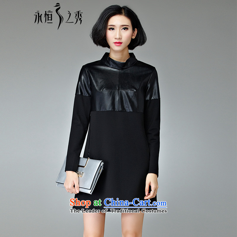 The Eternal Sau 201 autumn and winter load new look stylish and simple round-neck collar dresses black�L