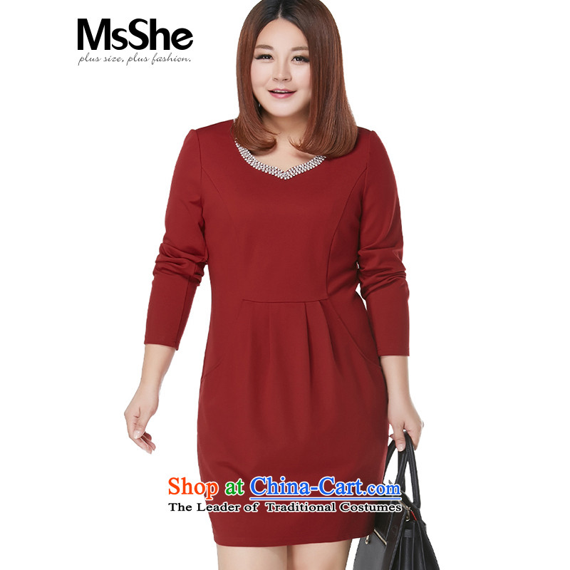 Msshe xl women 2015 new autumn and winter thick sister Sau San video thin dresses 10691 RH3195 Instument Bourdeaux�L