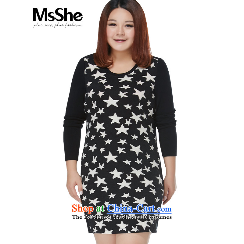 Msshe xl women 2015 new autumn and winter thick MM Knitted Shirt, forming the Netherlands 11050 black white flowers6XL