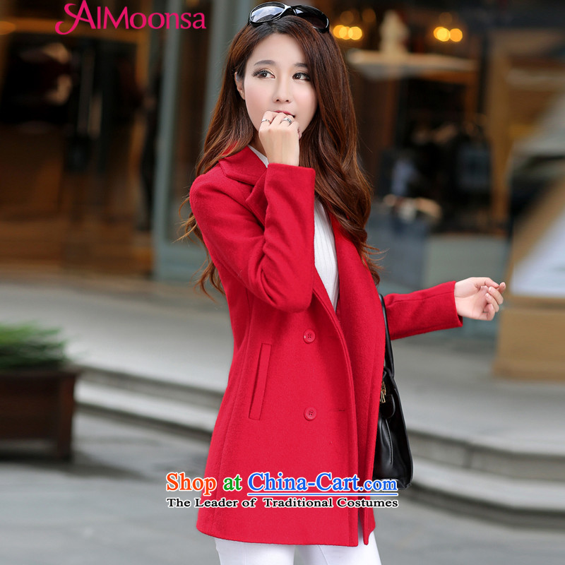 聽Gross? female jacket aimoonsa Korean double-a wool coat in the long winter 2015 new stylish V-neck a jacket coat RED聽M