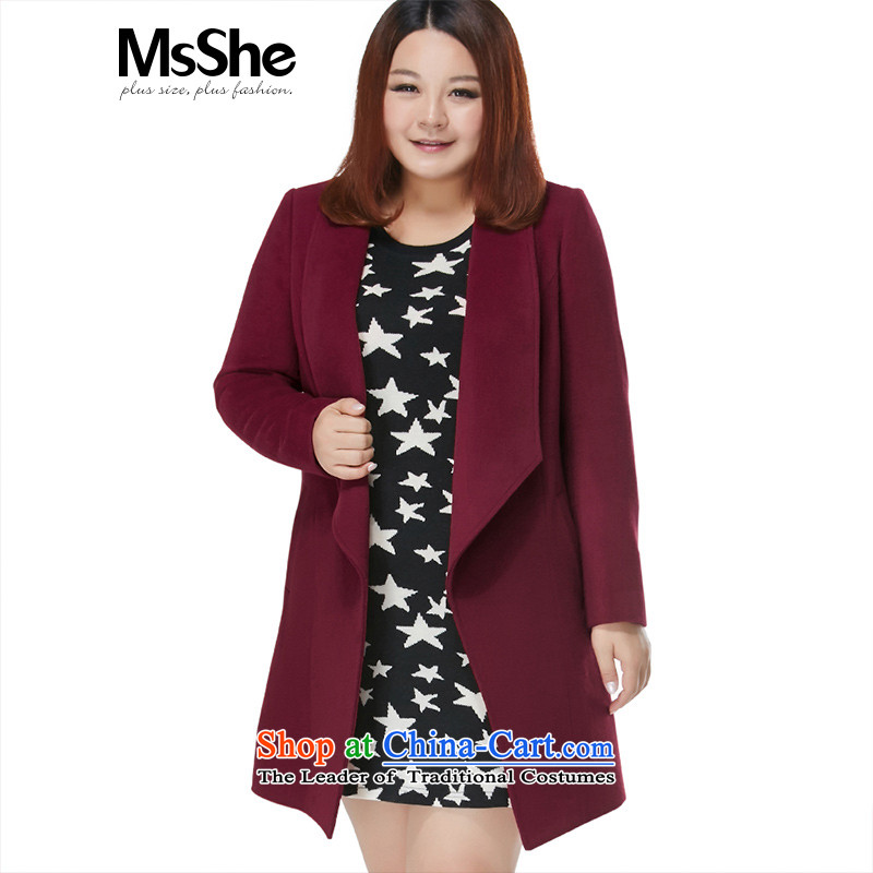 Msshe xl women 2015 new autumn and winter 45_ wool large roll collar jacket in gross? long thick 11115 BOURDEAUX5XL