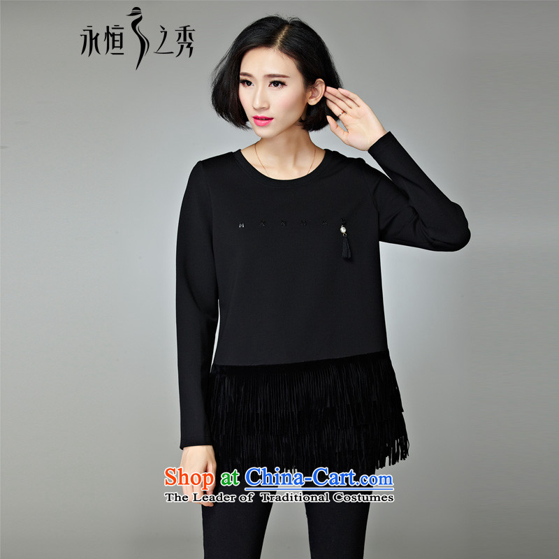 2015 MM to thick xl women short shirts T-shirt of autumn and winter new 200 catties thick black sister�L