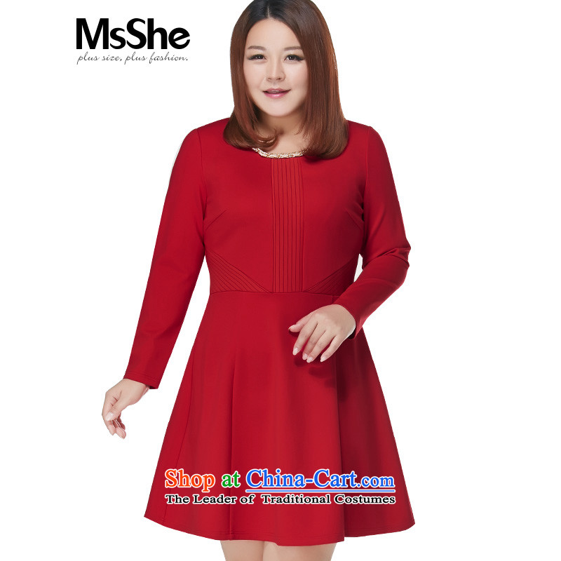 To increase the number msshe women 2015 new winter clothing Foutune of video thin thick MM dresses red 3XL UNAMIR Rwanda