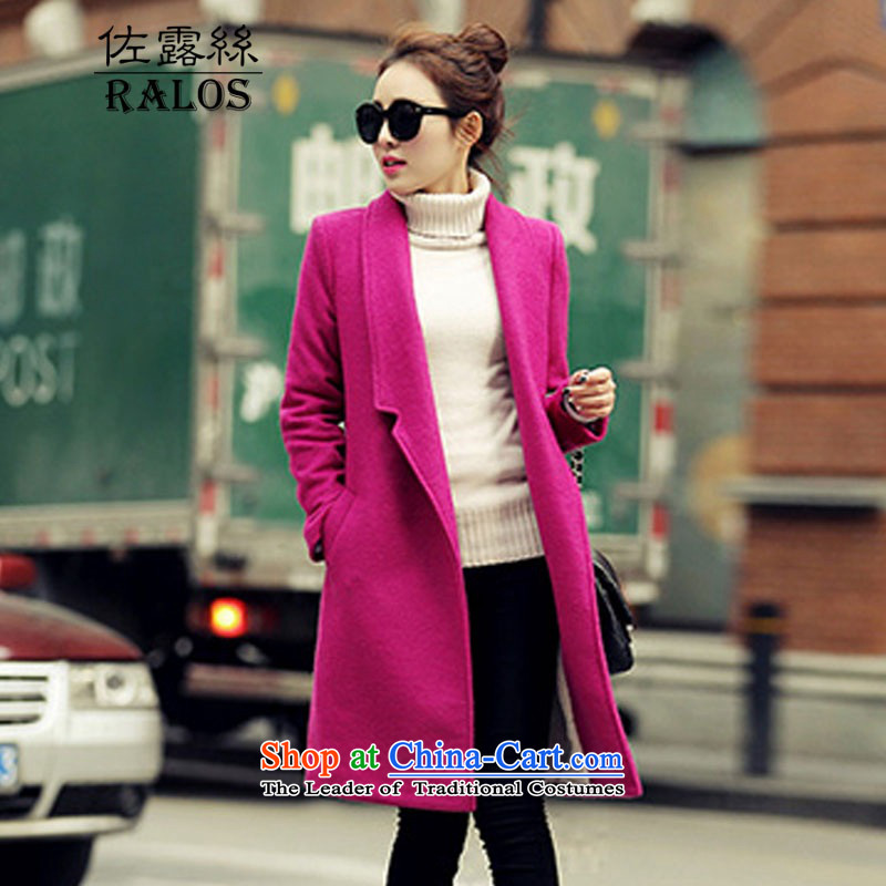 2015 Autumn and winter ralos new Korean female decorated gross? graphics are overcoats in thin long a wool coat short 466.5 purple (without extra lint-free) L