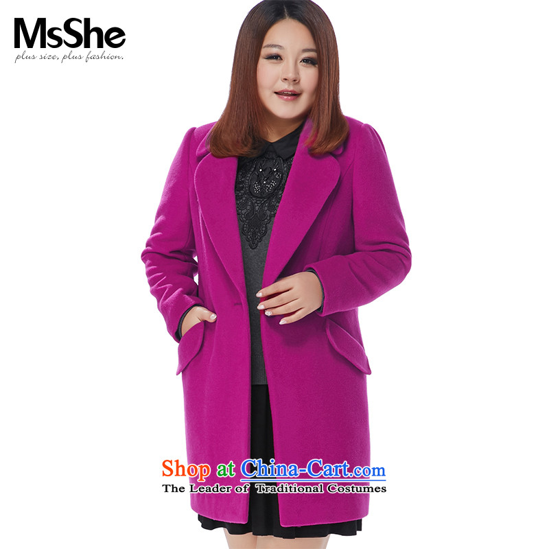 Msshe xl women 2015 MM thick winter clothing New 45_ wool thick hair? overcoat5XL perilla leaves, it rose red