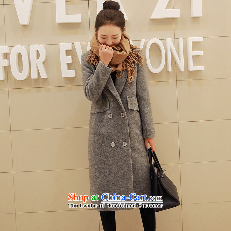 Sin has聽2015 winter clothing new Korean citizenry video thin solid stylish and simple gross? female gray jacket聽XL