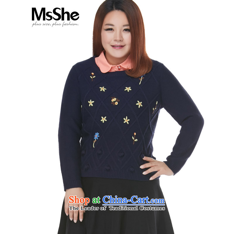 To increase the number msshe women 2015 New Autumn and Winter Sweater in embroidery MM thick long blue�L 8637