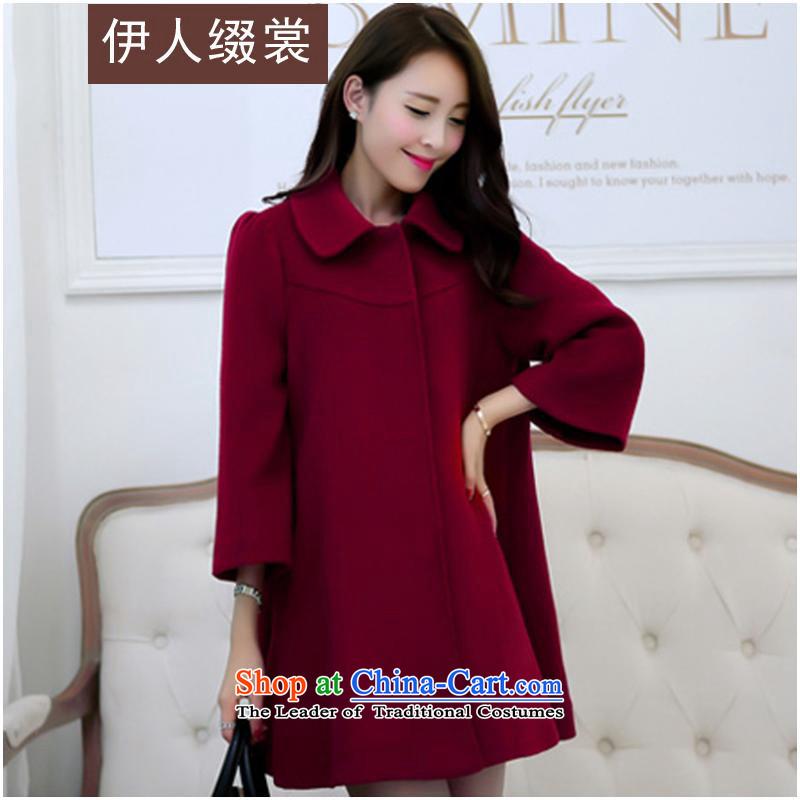 The Mai-Mai Prefix Advisory2015 autumn and winter new Korean women in the long, thin graphics temperament larger gross W9082 jacket? wine redXXXL