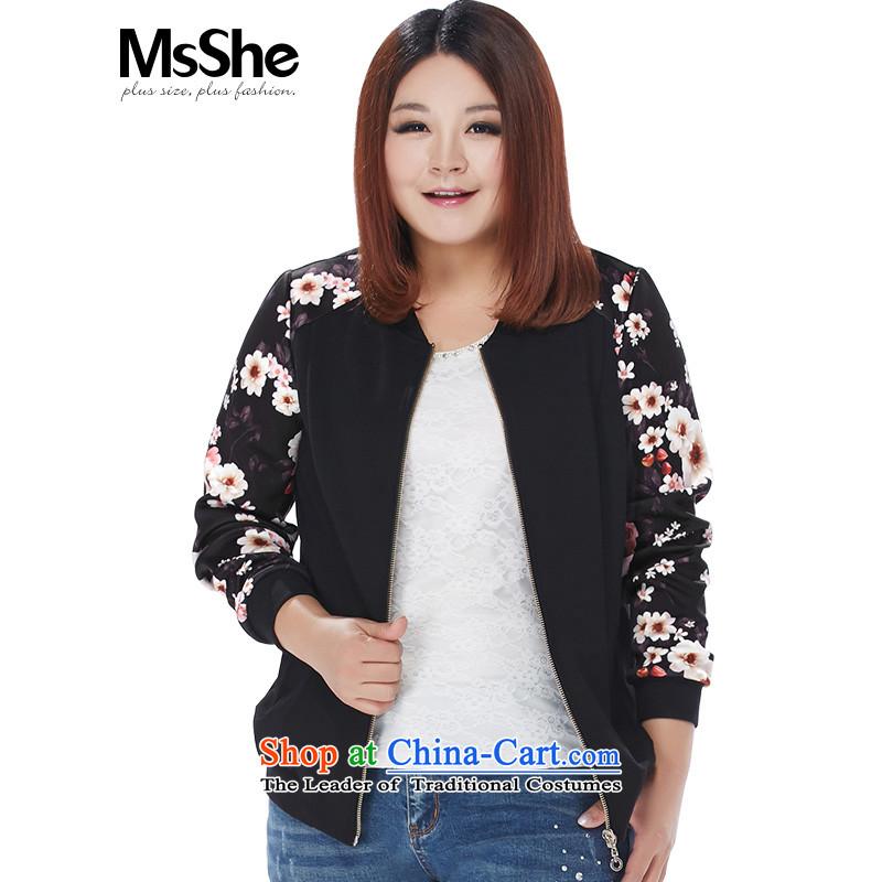 Msshe xl women 2015 new autumn and winter Fat MM fashion jacket 11156 pre-sale black toner flower燲L