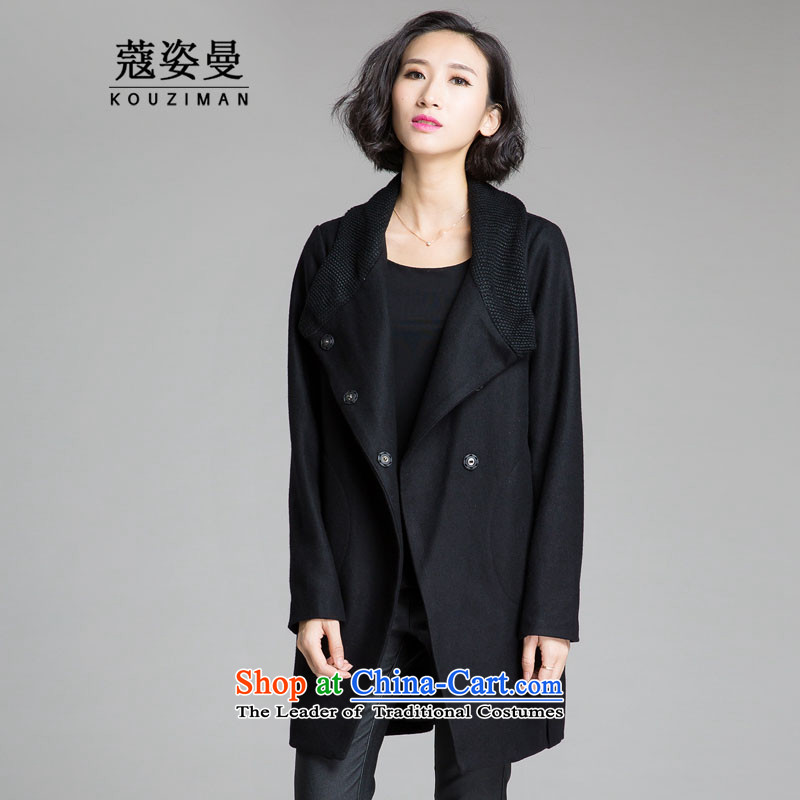 Khao Lak Gigi Lai Cayman xl women for winter coats? 2015 expertise gross mm sister Korean new people to thick video in thin long winter coats black jacket gross? 4XL