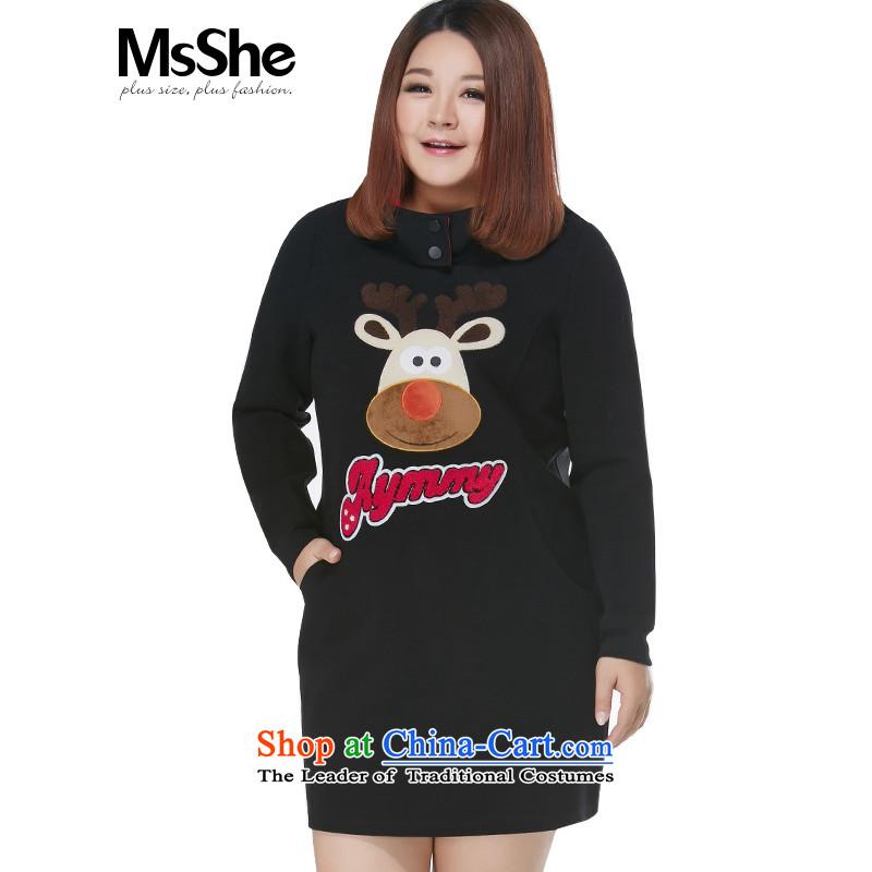 Large msshe women 2015 new winter Fat MM long sweater Sau San thick dresses 10687 Black�L