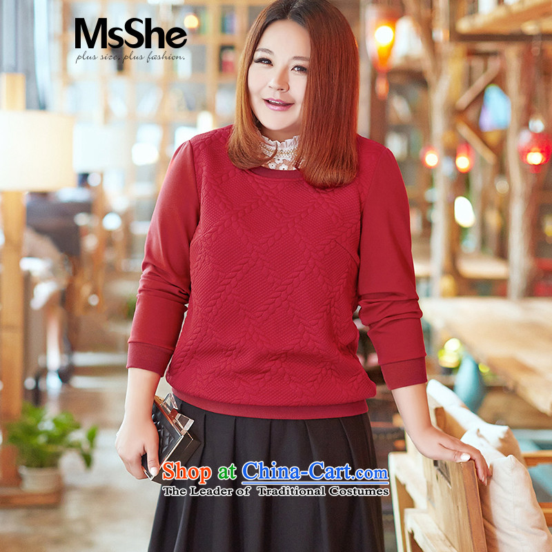 Msshe xl women 2015 new autumn and winter thick MM knitting sweater 11063 Graphics thin bourdeaux�L