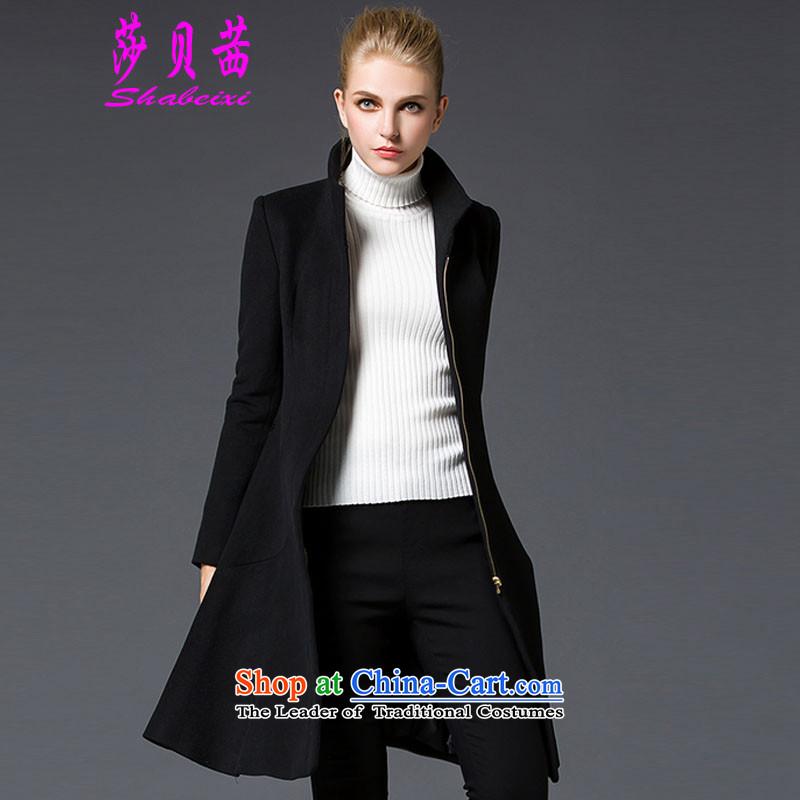 Elizabeth Bessie 2015 winter new gross girls jacket? long black overcoat so Sau San Mao燣