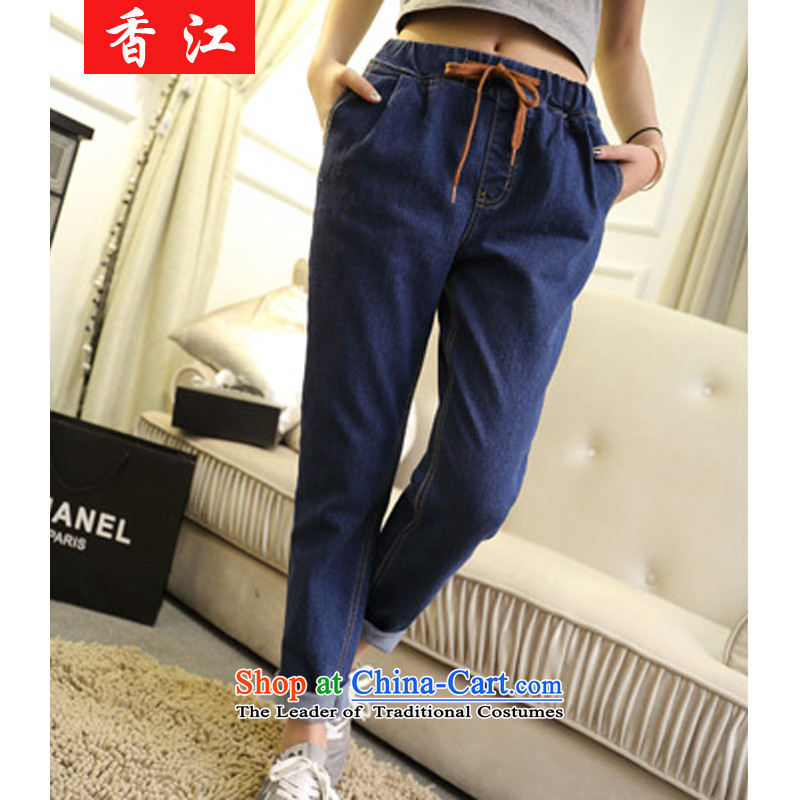 Xiang Jiang to intensify the tension around his waist trousers female autumn cowboy stretch the lint-free thick cowboy pencil trousers and skinny legs trousers 200 graphics catty thick sister�02爌lus lint-free high-code XL