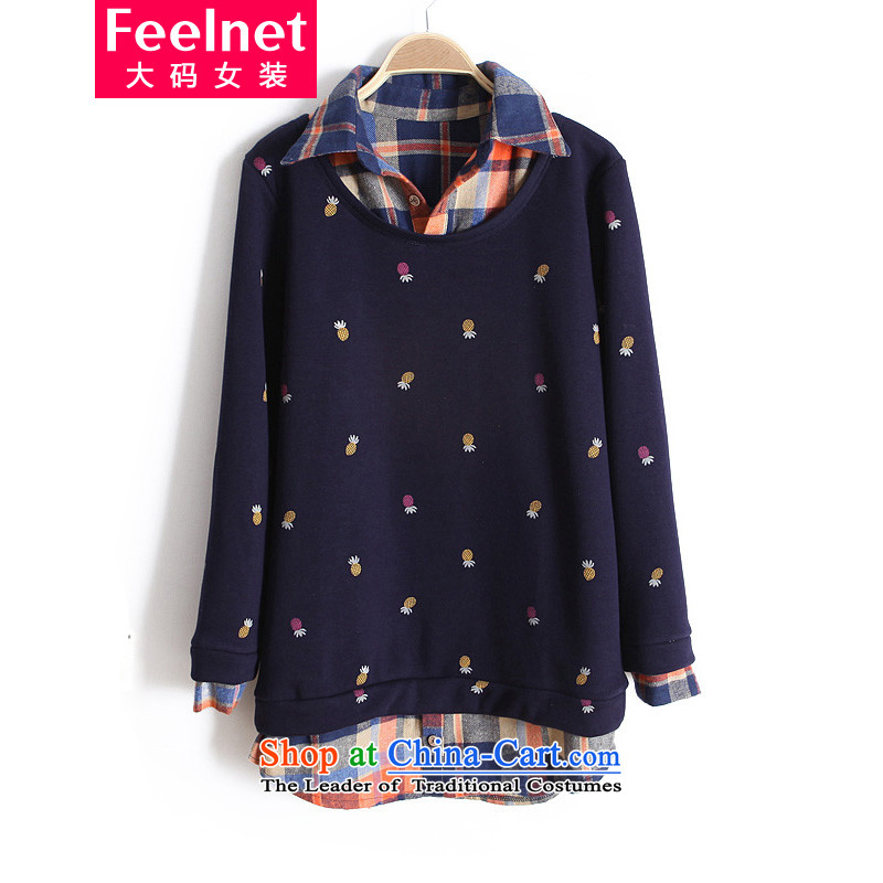 Load the autumn feelnet thick mm 2015 large female Korean thick winter clothing. Fatsos sister catty to increase 200 forming the Netherlands T-shirt 748 dark blue 6XL-48 code