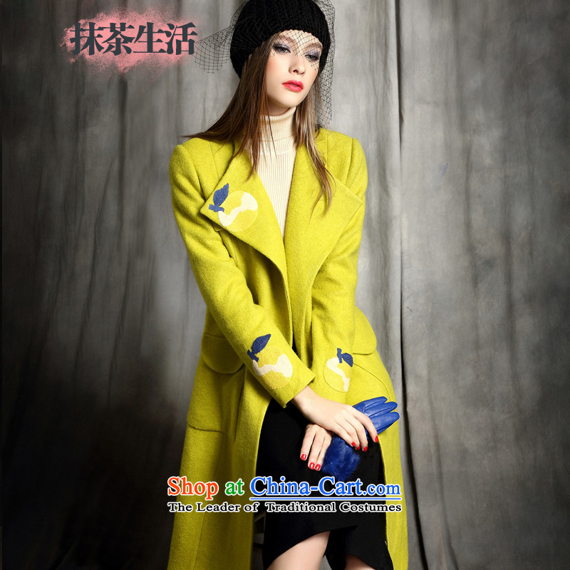 Matcha life wool female hair? 2015 winter coats of new long-sleeved jacket for Sau San Mao coats Western Yellow M?