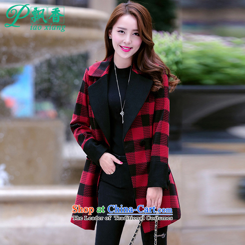 Scented Winter 2015 new handsome stylish thin Korean Sau San video temperament gross? jacket V1700 red grille燲L