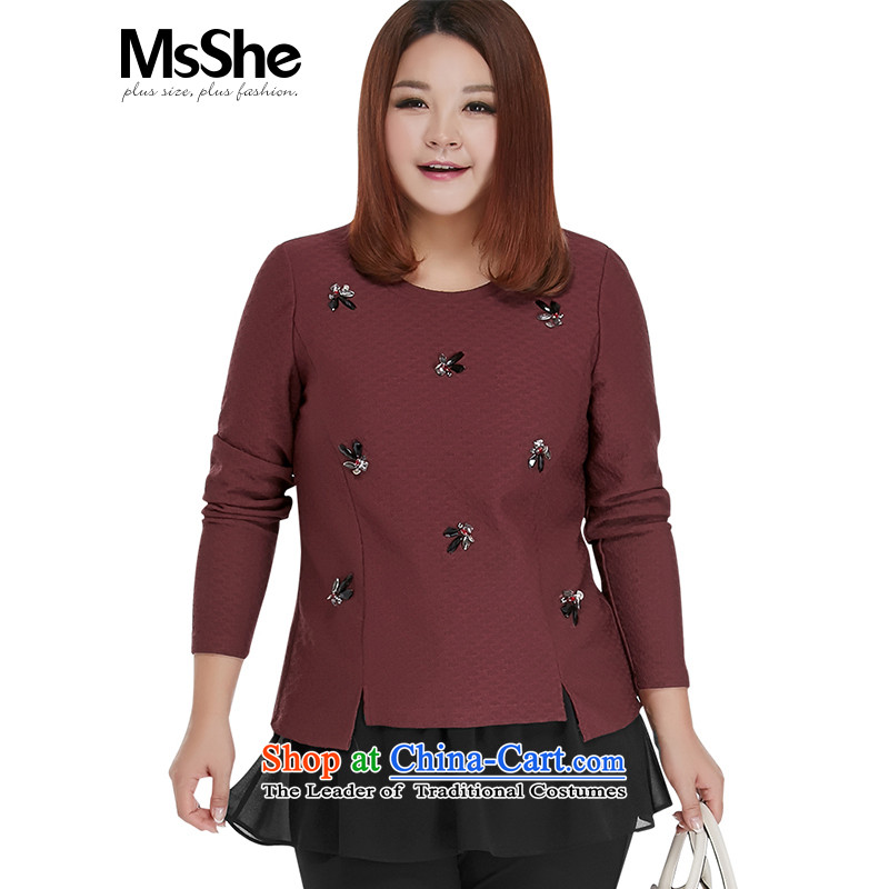 Large msshe women 2015 new autumn and winter round-neck collar thick sister in long long skirt shirt thick 10697 Bourdeaux�L