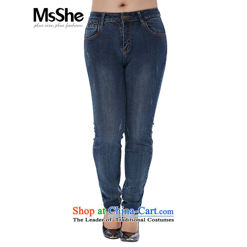 To increase the number msshe women 2015 new winter clothing 11015 MM thick jeans deep Denim blue燭2