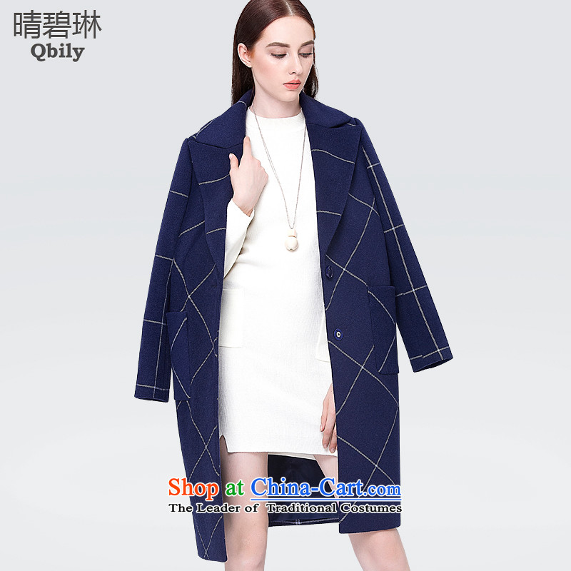 Ms. Lin Qing Pik windbreaker 2015 autumn and winter new products long long-sleeved jacket pocket latticed gross? a wool coat dark blue XS