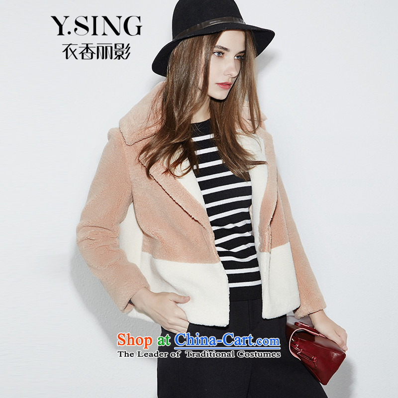 -i- to buy three from Hong Lai Ying 2015 winter clothing new Korean citizenry and color stitching lamb Maomao jacket female short_? coffee 33 S
