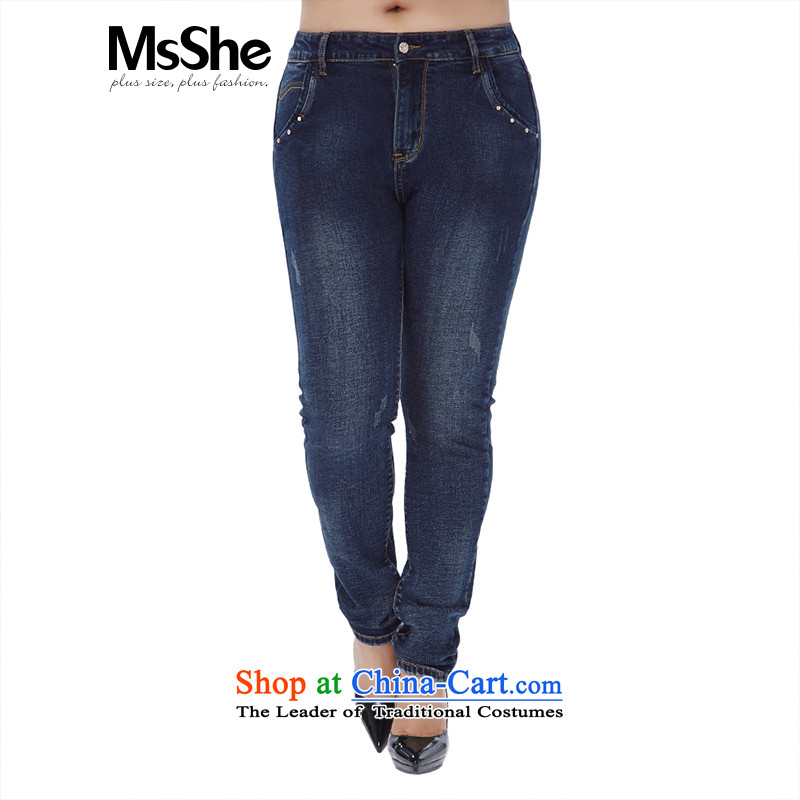 Msshe xl women 2015 new winter thick MM milling gross Sau San video thin thick dark Denim blue jeans their number rose from 11,017燭3