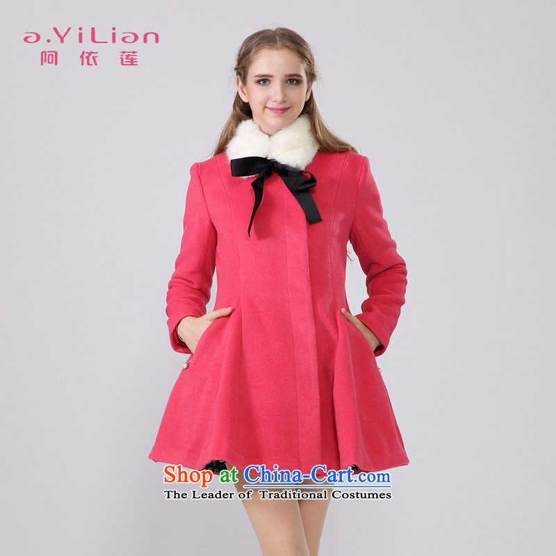 Aida 2015 Winter New Lin pure color sweet removable gross for a Bow Tie wool coat jacket is the umbrella? CA44197243 Western Red XL