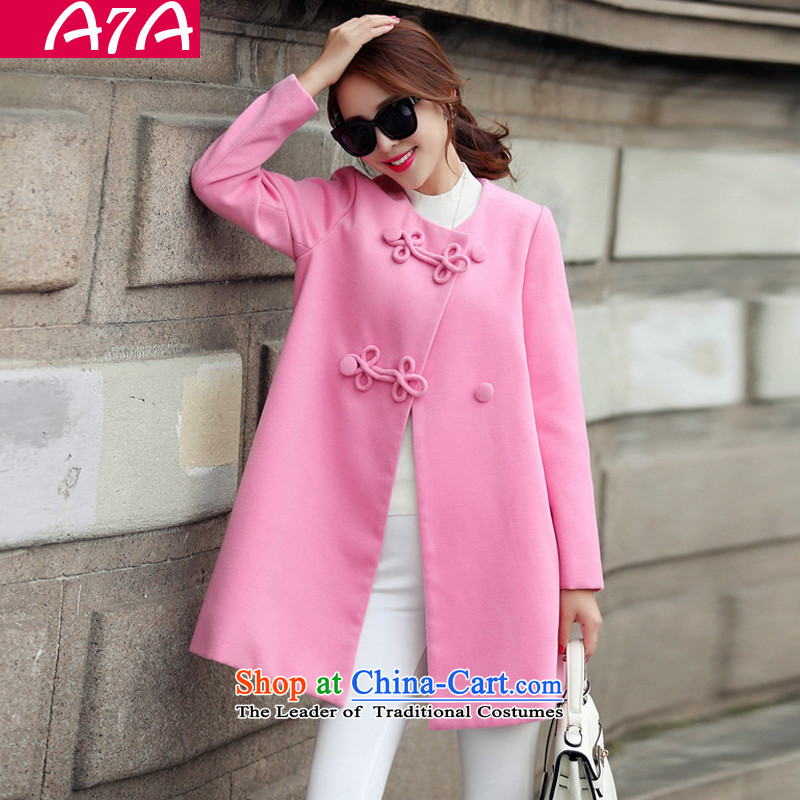 The Korean version of the long A7A gross? windbreaker female autumn and winter long-sleeved line button and No for a wool coat cashmere overcoat large 1663 pink燲L code